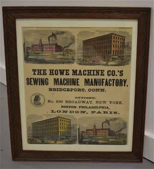 19th Century Howe Sewing Machine Framed Broadside
