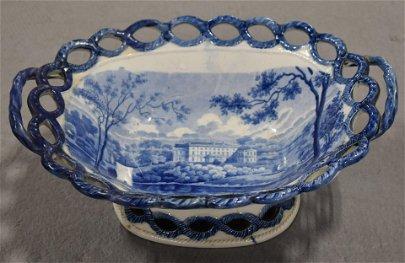 Blue Staffordshire Open Work Basket BLUE  TRANSFERWARE