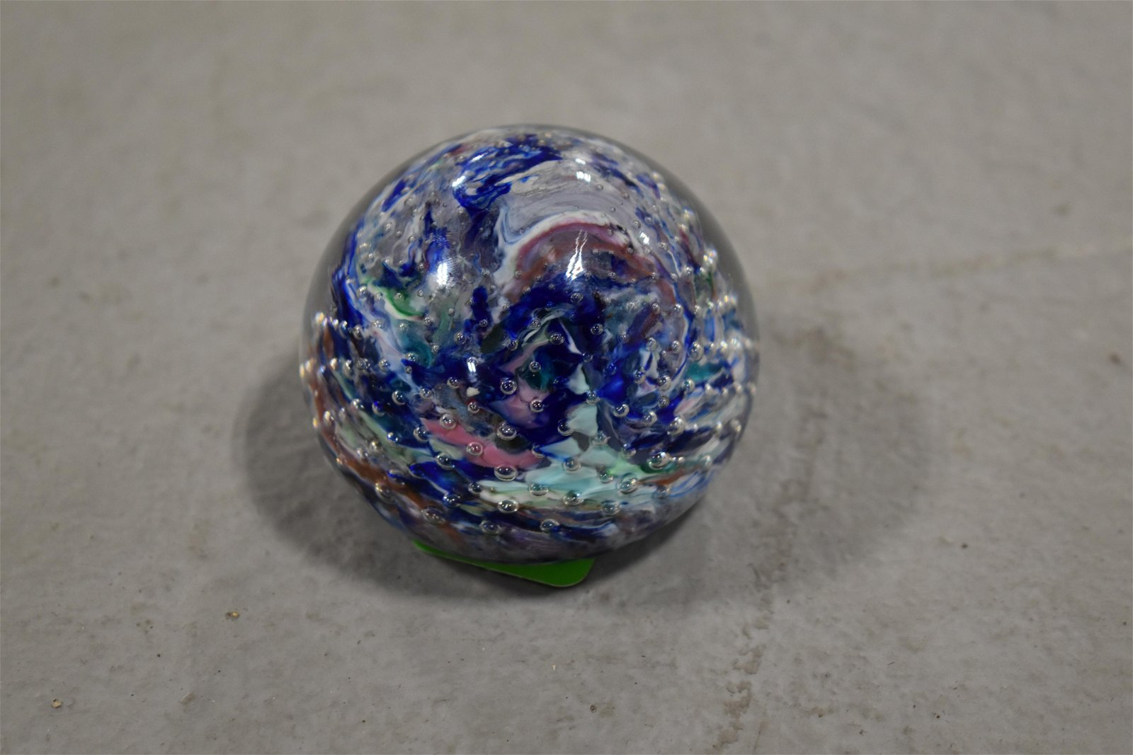 Pairpoint Glass Paperweight SWIRLED WITH CONTROLLED