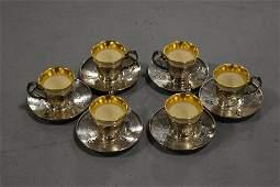 Set 6 Gorham Sterling Demitasse Cups and Saucers SET
