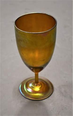 """6"""" Tiffany Gold Favrile Stemmed Goblet"""