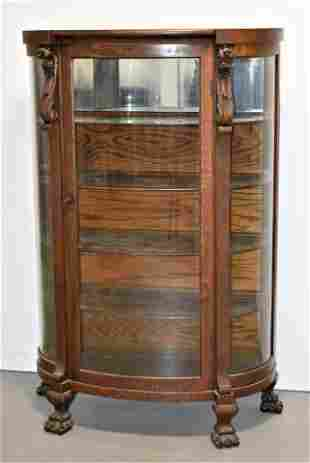 Carved Victorian Oak Bow Front China Cabinet