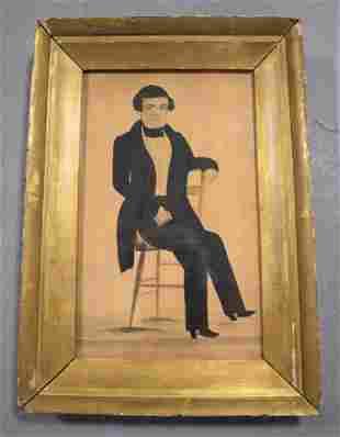 19th Century Watercolor Portrait of Gentleman