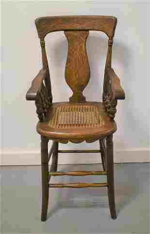 Victorian Oak High Chair with Cane Seat