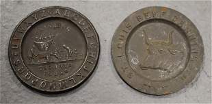 (2) Early Tin Childrens Plates