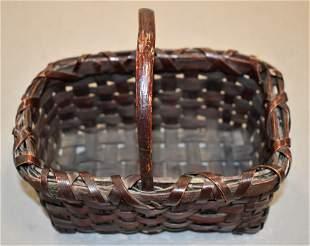 Small Painted Splint Handled Basket