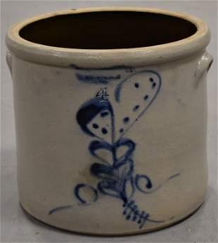 4 Gallon Decorated J.S Taft Stoneware Crock