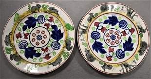 Pair English Stick Spatter Rabbit Plates