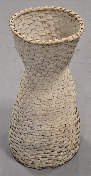 Tall Painted White Splint Basket