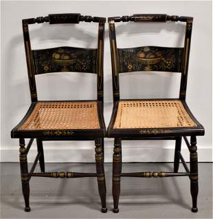Pair Decorated Hitchcock Style Chairs