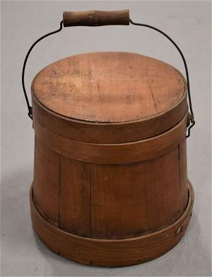 Small Wooden Firkin with Bail Handle