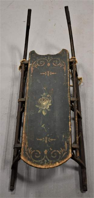 19th Century Painted Childs Wooden Sleigh