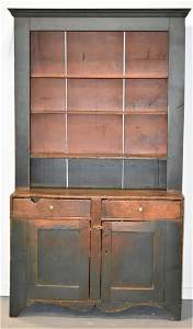 19th Century N.E Painted Stepback Cupboard