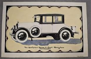 Vintage Automobile Advertising Watercolor