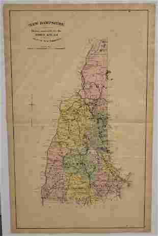19th Century Colored Map of New Hampshire