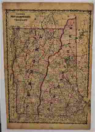 19th Century Colored Map of NH & VT
