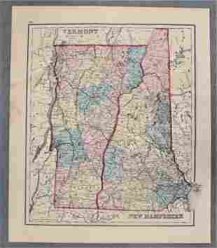 19th Century Colored Map of Maine, NH & VT