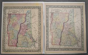 (2) 19th Century Colored Maps of NH & VT
