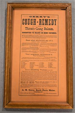 Framed Gerrys Cough Remedy Advertisements