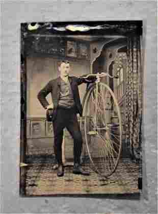 Tin Type of Man with High Wheel Bicycle