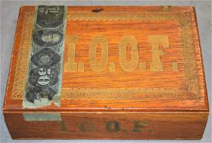 I.O.O.F Wooden Cigar Box
