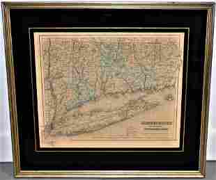19th Century Map of Connecticut