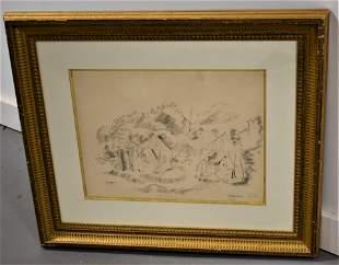 Jules Pascin Charcoal Drawing