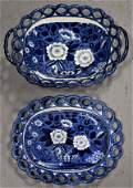 Dark Blue Staffordshire Basket and Undertray