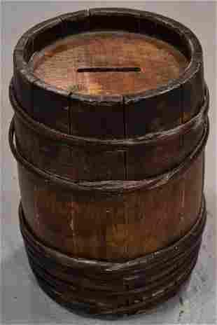 Primitive Wooden Barrel Coin Bank