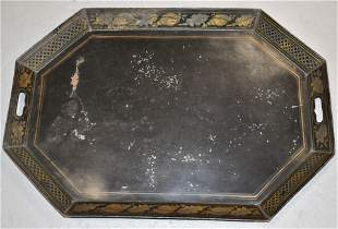 Painted 2 Handle Toleware Tray