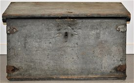 Early Small Painted Canted Pine Chest