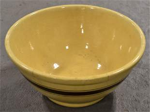 Large 14 12 Banded Yelloware Bowl