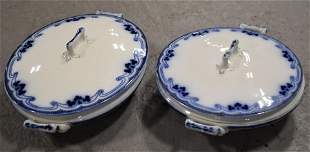 2 Victorian Flow Blue Covered Vegetable Dishes