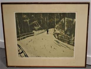 Art Wood Colored Etching of Mohawk Trail