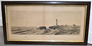 19th Century LIghthouse Etching
