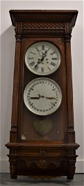 Waterbury No. 24 Double Dial Calendar Wall Clock