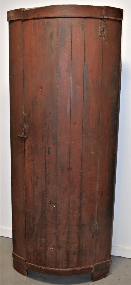 Early N.E. Barrel Form Corner Cupboard