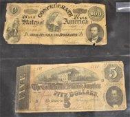 Lot of 2 Confederate Bills