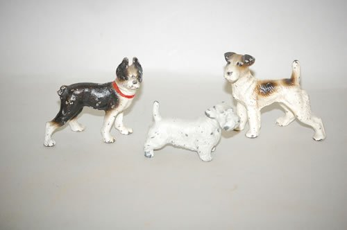 1: LOT (3) PAINTED CAST IRON DOGS