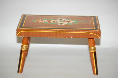 4: 19TH CENT. PAINT DECORATED CRICKET STOOL