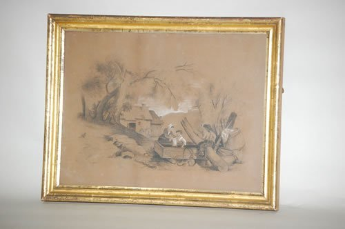 7: 19TH CENT. CHARCOAL LANDSCAPE DRAWING