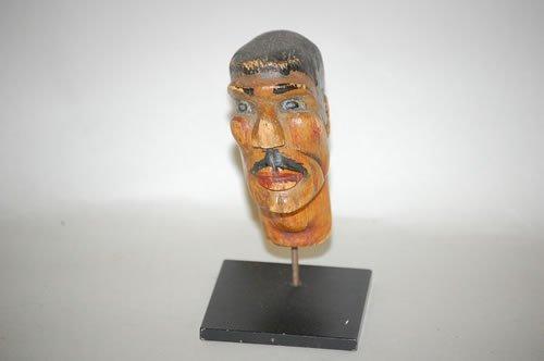 12: FOLK ART CARVED & PAINTED HEAD