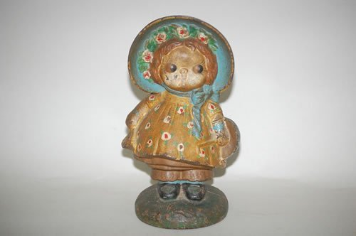 19: DOLLY DINGLE PAINTED DOORSTOP