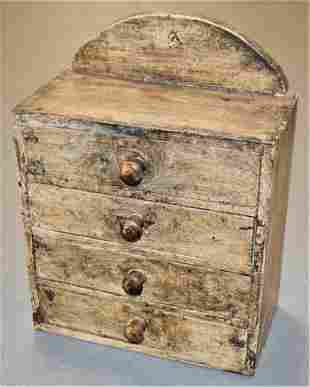 Small Painted Primitive 4 Drawer Chest