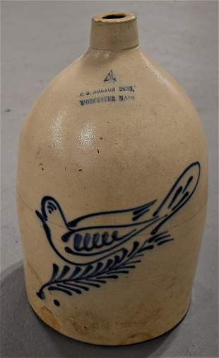 F. B Norton and Son 4 Gal Decorated Stoneware Jug