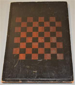 Early 20th Century Painted Wooden Game Board