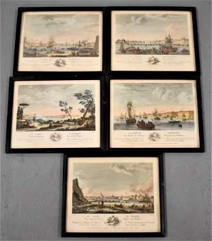 Set 5 Colored French Le Port Prints