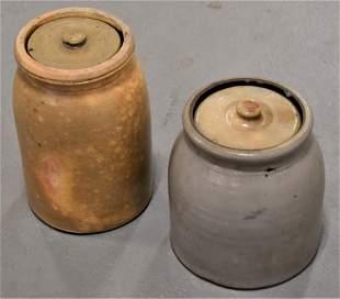 2 Stoneware Covered Storage Jars