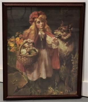 Chromolitho Print of Red Riding Hood