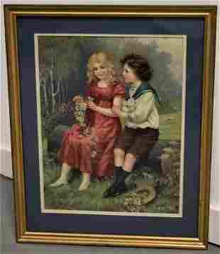Chromolitho Print of Young Boy and Girl